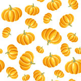 Pumpkin seamless background. Seamless vector pattern of colourful doodle pumpkins Stock Photo