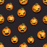 Pumpkin seamless halloween party decoration scary faces smile emoji pattern flat design vector illustration Royalty Free Stock Photos