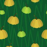 Pumpkin seamless pattern on green background stock illustration