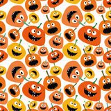 Pumpkin seamless pattern on white background Pumpkin seamless background Wallpaper Background for Halloween party yellow and orang. E pumpkin vector illustration Stock Images