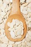 Pumpkin seed. In wooden spoon, healthy food ingredient Stock Images