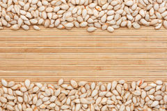 Pumpkin seed  on a  bamboo mat Royalty Free Stock Photography