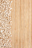 Pumpkin seed  on a bamboo mat Royalty Free Stock Photo