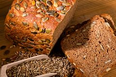 Pumpkin seed bread Royalty Free Stock Photo