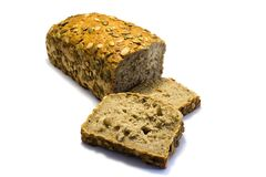 Pumpkin seed bread sliced isolated on white background royalty free stock photos