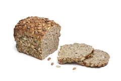 Pumpkin seed bread and slices stock photo