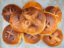 Pumpkin seed buns on baking paper after baking at close-up. In a nicely put pile stock images