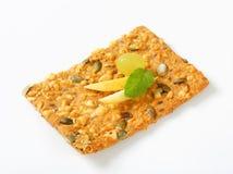 Pumpkin seed cheddar cracker Royalty Free Stock Image