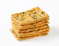 Pumpkin seed cheddar crackers Stock Image