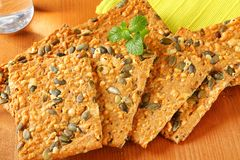 Pumpkin seed cheddar crackers Royalty Free Stock Image