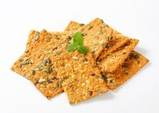 Pumpkin seed cheddar crackers Royalty Free Stock Photography