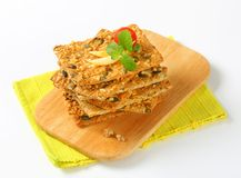Pumpkin seed cheddar crackers Royalty Free Stock Photos