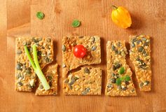Pumpkin seed cheese crackers Royalty Free Stock Image