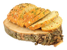 Pumpkin Seed Covered Carrot Bread Bloomer Loaf. Isolated on a white background Royalty Free Stock Photo