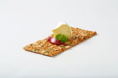 Pumpkin seed cracker with cheese and apple Royalty Free Stock Photos