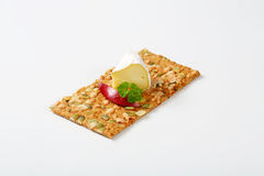Pumpkin seed cracker with cheese and apple Royalty Free Stock Images