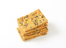 Pumpkin seed crispbread Royalty Free Stock Photography