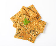 Pumpkin seed crispbread Royalty Free Stock Images