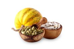 Free Pumpkin Seed In A Bowl On A White Background Stock Photos - 128632473