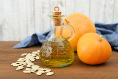 Pumpkin seed oil Royalty Free Stock Images