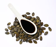 Pumpkin seed oil stock images