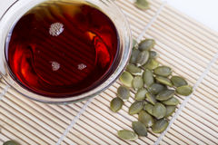 Pumpkin seed oil and seeds Stock Image