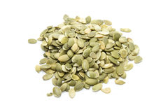 Pumpkin seeds. Group of pumpkin seeds isolated on white background Royalty Free Stock Photography
