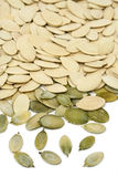 Pumpkin seeds. Close-up view of pumpkin seeds isolate on white Stock Photography