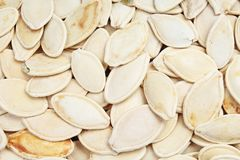 Pumpkin seeds as background. Pumpkin seed texture pattern food photo. Stock Photos