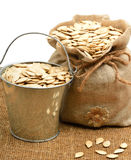Pumpkin seeds in the bag and in bucket isolated on white Royalty Free Stock Images