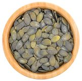 Pumpkin seeds in a bowl isolated. Royalty Free Stock Image