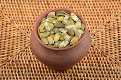 Pumpkin seeds ceramic jug Stock Image