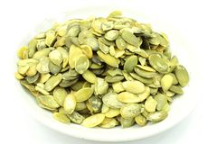 Pumpkin seeds, cleaned, whoe. Royalty Free Stock Photography