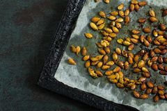 Pumpkin seeds fried with spices Royalty Free Stock Images