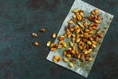 Pumpkin seeds fried with spices Royalty Free Stock Photos