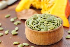Pumpkin Seeds In A Bowl Royalty Free Stock Image