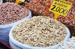 Pumpkin seeds and nuts at spicy bazaar in Turkey Stock Photo