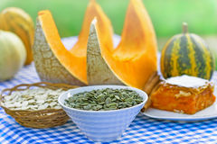 Pumpkin seeds and pumpkin cake Stock Photo