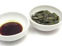 Pumpkin seeds and pumpkin seed oil Stock Photo