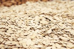 Pumpkin seeds for sale in supermarket Royalty Free Stock Photography