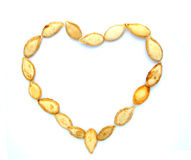 Pumpkin seeds in shape of heart Royalty Free Stock Images