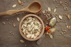 The pumpkin seeds and sunflower seeds. And spoon Stock Images