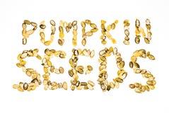 Pumpkin seeds. A title made from pumpkin seeds Royalty Free Stock Image