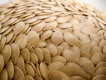 Pumpkin Seeds. In water forming a scale like pattern Stock Photo