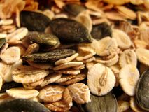 Pumpkin seeds and wheat Royalty Free Stock Images
