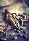 Pumpkin seeds in a wooden scoop Royalty Free Stock Image