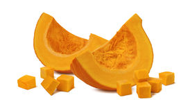 Pumpkin segment pieces cubes 2 isolated on white background. As package design element stock image