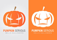Pumpkin serious for a halloween event. Hello Halloween Royalty Free Stock Photography