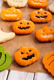 Pumpkin shape Halloween cookies Stock Images