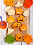 Pumpkin shape Halloween cookies Stock Photography